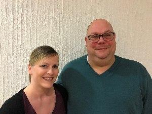 Markus Kloth (Vorsitzender) und Amber Heinemann (stellvertretende Vorsitzende) beim Bundescheerleadertag am 13.01.2018 in Frankfurt am Main  (c) AFVD